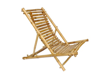 Bamboo lounge chair isolated on white background photo