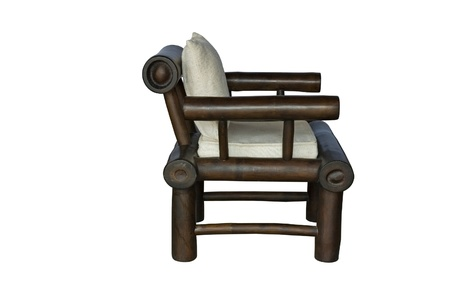 Bamboo chair with pillow  isolated on white background Stock Photo - 20004102