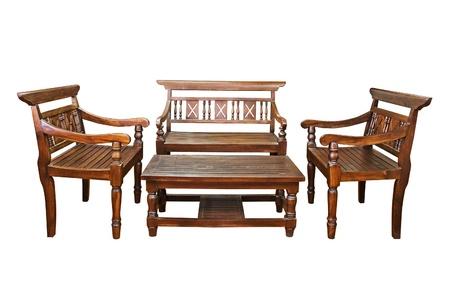 muebles de madera: Mesa con silla conjunto aislado sobre fondo blanco Foto de archivo