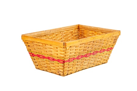 Empty bamboo basket isolated on white background  photo