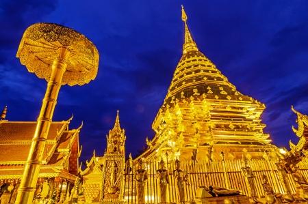 Pagoda at Wat Phra That Doi Suthep, Chiang Mai, Thailand  写真素材