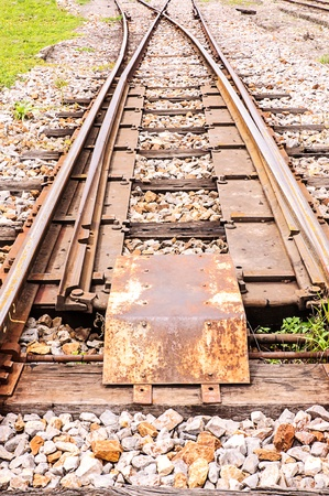 Junction railway tracks on sleepers with  switch Stock Photo - 20987617
