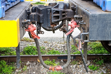 coupling: Coupling between two train cars  Stock Photo