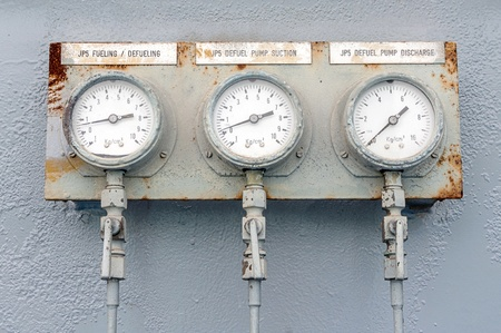 Old meter measuring pressure of an engine on battleship Stock Photo