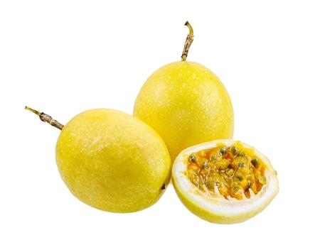 Passion fruit whole fruit and opened isolated on white background