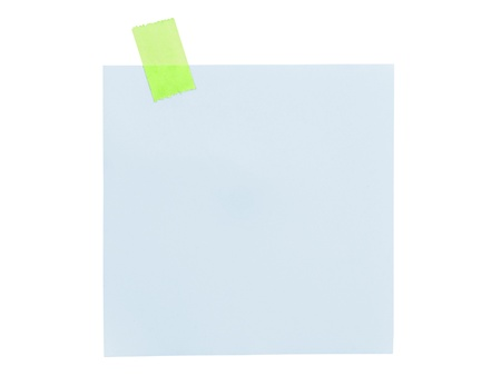 Close up of note paper on white background  photo