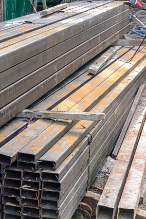 Rectangular metal pipe for construction on site  photo