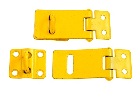 hasp: Two regular metal hasp closed and open  isolated on white background