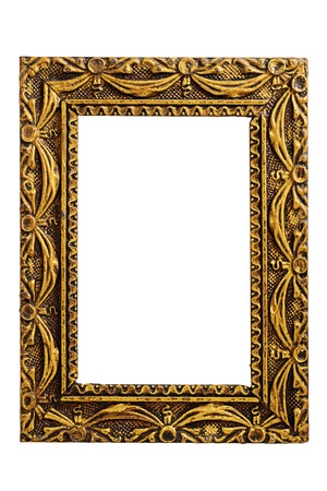 Old antique gold frame isolated on white background  photo