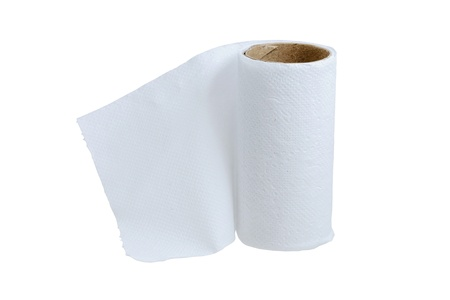 leftover: Toilet paper little leftover isolated on white background  Stock Photo