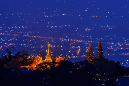 Chiang mai night light landscape from Doi Suthep , Thailand