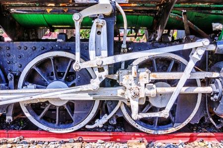 Wheels of a vintage steam locomotive  photo