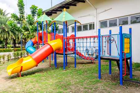 Colorful playground equipment on the playground photo