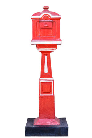 Red old-fashioned mailbox isolated on white background  photo