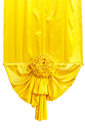 Yellow fabric ribbon for ceremony isolated on white  photo