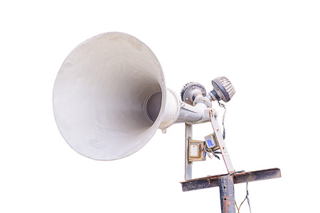 Old loudspeaker isolated on white background with clipping path photo