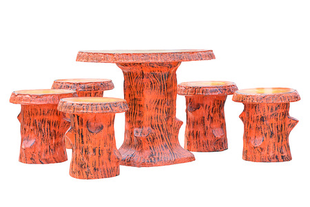 resemble: Table and bench made from concrete made to resemble wood , with clipping path