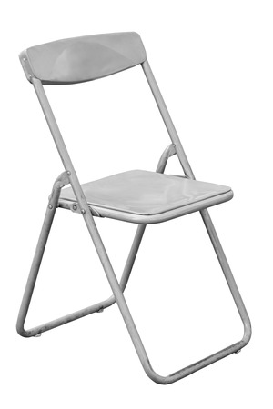 Gray folding chair isolated on white with clipping path photo