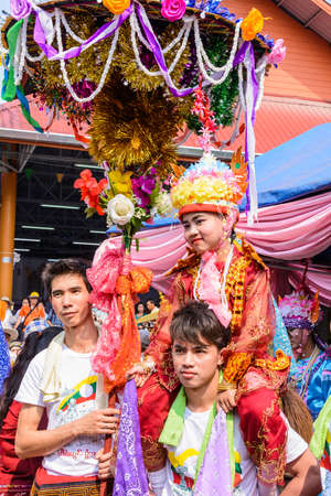 CHIANGMAI, THAILAND-APRIL 5 Poy Sang Long festival,A Ceremony of unidentified boys to become novice monk, during in parade around township to Wat Pa Pao temple on April 5, 2014 in Chiangmai,Thailand