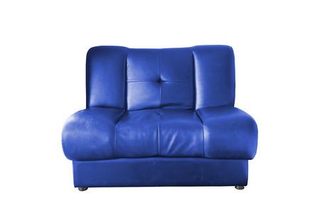 blue leather sofa: Divano in pelle blu isolato su sfondo bianco Archivio Fotografico