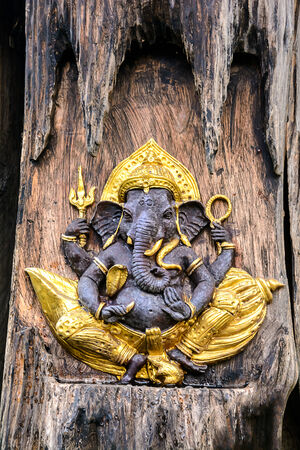 low relief: Ganesha statue low relief in a tree trunk