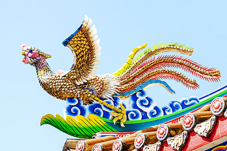 chinese phoenix: Chinese  phoenix statue on roof with blue sky