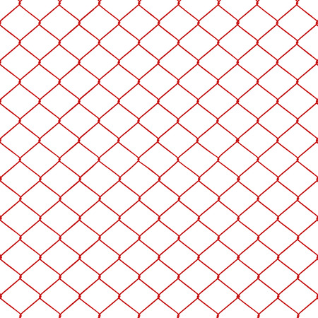 chainlink fence: Red chainlink fence seamless on a White background