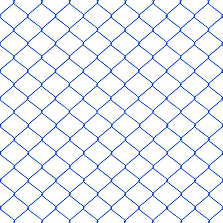 chainlink fence: Blue chainlink fence seamless on a White background   Stock Photo