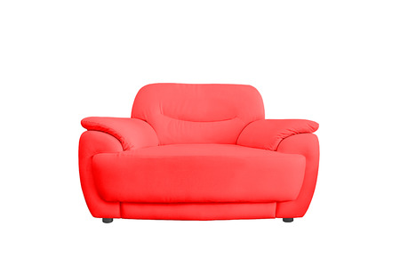 view of an elegant red couch: Red leather sofa isolated on white background