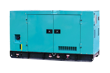 Industrial diesel power generator on white background. Banco de Imagens