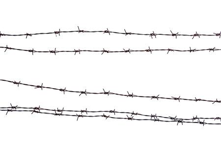 クローズ アップ錆びた有刺鉄線は、白で隔離。