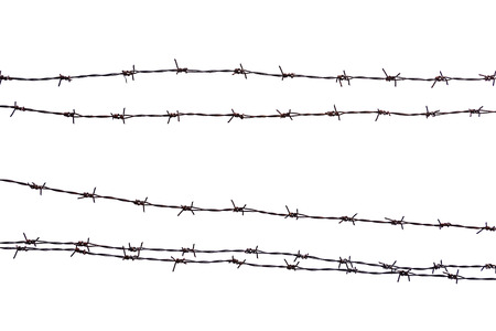 Closeup rusty barbed wire isolated on white. Banque d'images