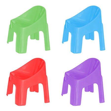 patio furniture: Set of small plastic chair on isolated white background. Stock Photo