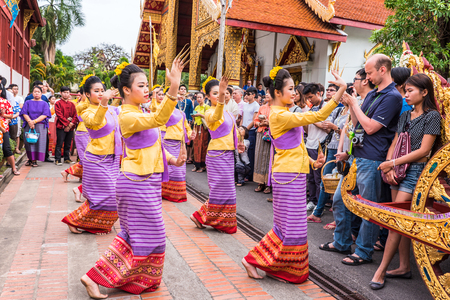 CHIANG MAI, THAILAND - APRIL 13: Unidentified Thai woman dancer in Phrasing temple in Songkran Festival (Thailand new year) on April 13,2015 in Chiang Mai, Thailand.