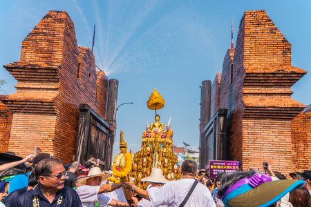 marched: CHIANG MAI, THAILAND-APRIL 13:Chiang mai Songkran festival.The tradition of bathing the Buddha Phra Singh marched on an annual basis. With respect to faith on April 13,2015 in Chiang mai,Thailand.