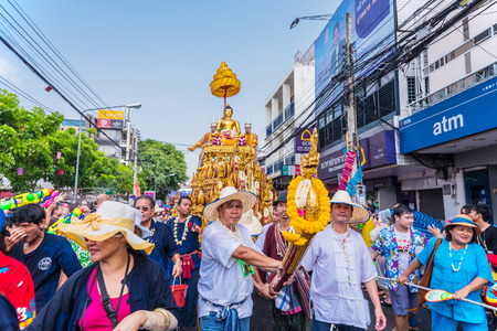 CHIANG MAI, THAILAND-APRIL 13:Chiang mai Songkran festival.The tradition of bathing the Buddha Phra Singh marched on an annual basis. With respect to faith on April 13,2015 in Chiang mai,Thailand.