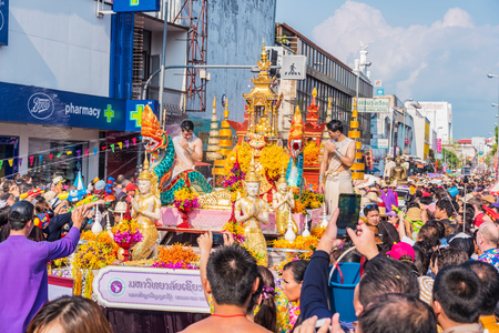 marched: CHIANG MAI, THAILAND-APRIL 13:Chiang mai Songkran festival.The tradition of bathing the Buddha marched on an annual basis. With respect to faith on April 13,2015 in Chiang mai,Thailand.