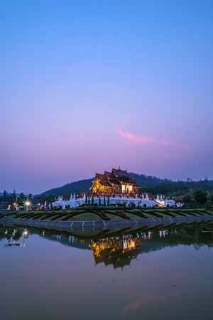 Royal Pavilion or Ho Kham Luang in thai name, Reflection in Twilight, Chiang Mai at North of Thailand.