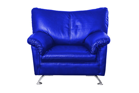 blue leather sofa: Blue leather sofa isolated on white background, work with path.