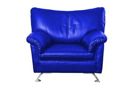 blue leather sofa: Divano in pelle blu isolato su sfondo bianco, il lavoro con il percorso. Archivio Fotografico