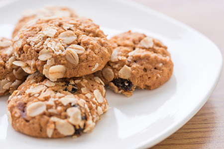 Soft oatmeal cookies on the plate.