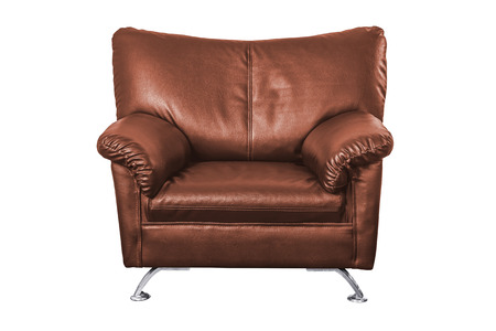 brown leather sofa: Brown leather sofa isolated on white background, work with path.