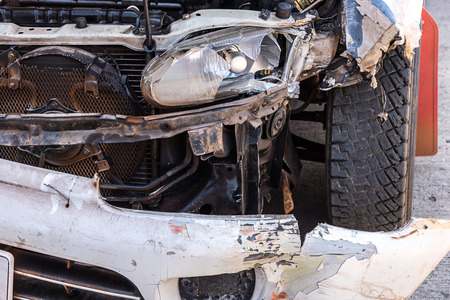 totaled: Details of a car an accident plying crash.