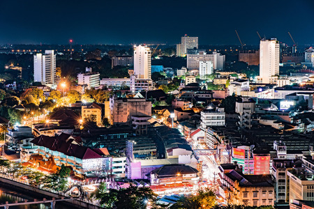 chiang mai: Chiang mai downtown cityscape night view, Thailand. Stock Photo