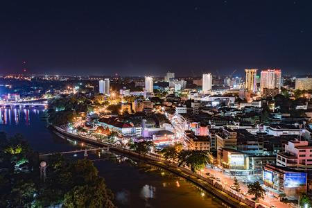 Chiang mai downtown cityscape night view, Thailand. Banco de Imagens