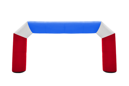 inflated: Arches plastic inflated isolated on white, for decorating entrance of the event, party or sport, work with path.