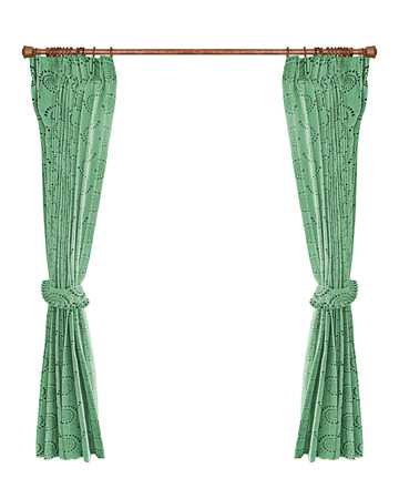 Green curtains with isolated a white background