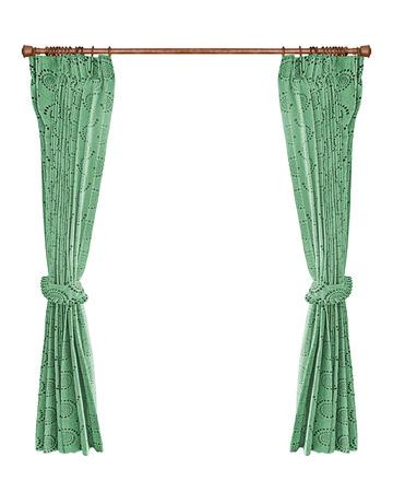 cortinas: cortinas verdes con aislado un fondo blanco Foto de archivo