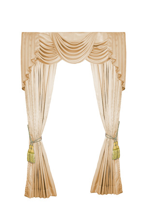 Luxury curtain with golden luxury tassels isolated on white. 写真素材