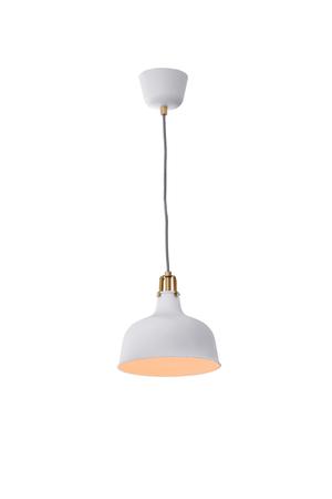 Witte hangende die lamp op witte achtergrond, het Werk met het knippen van weg wordt geïsoleerd.